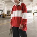 【トレンド】襟付き3カラーボーダースウェットシャツ 3カラー