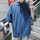 【HOT】特殊生地デザイン襟Tシャツ 3カラー