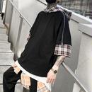[HOT]7部丈チェックレイヤーフードTシャツ 2カラー