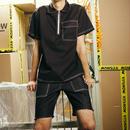 【TREND】ブラックファスナー襟Tシャツ