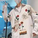 【大人気】英文デザインロングシャツ 2カラー