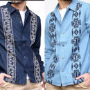 デニム刺繍開襟シャツ