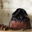 stripe & leather 2way bag
