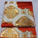 【Pure Silk Antique】袋帯 昭和レトロ★アンティーク★オレンジに亀甲柄が鮮やかな豪華な袋帯です。超美品!