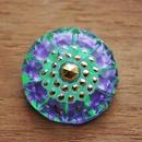 【gb-0010】ビンテージ◆チェコ 緑×紫のガラスボタン