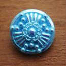 【gb-0019】チェコビンテージ◆メタリック水色 オーロラ ガラスボタン