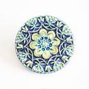 【gb-0027】チェコビンテージ◆3.7センチ メタリックブルーフラワーモチーフ ガラスボタン