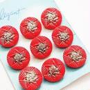 ビンテージ◆チェコ【1個】明るい赤と銀色のガラスボタン