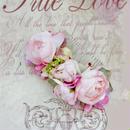 期間限定 送料無料 お誕生日祝い、結婚式に。シャビーシック 大人ピンクのオールドローズとパープルのアジサイの髪飾り コーム