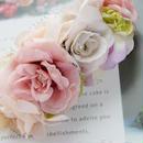 期間限定送料無料 さくら色春色・シャビーシックなピンクとグレーのバラのヘアコサージュ アート&プリザーブドフラワー