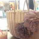軽いPP素材 エレガントなお花のストローバッグ シンプル軽いトート籠バッグ