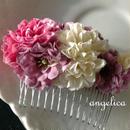 森ガール スモーキーカラーの ピンポンマム スモーキーピンク オフホワイト パープル 髪飾り 七五三に 和装に ウェディング にも。