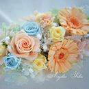 母の日 義母へのプレゼント お誕生日、開業祝いにもおすすめ!ガーベラ、バラ、カスミソウ、カーネーション入り、35cmの華やかプリザーブドフラワーアレンジ