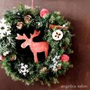 数量限定 期間限定、人気のハンドメイド トナカイリース プリザーブドフラワー wreathe