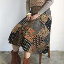1970s England patch work print skirt