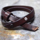 """クロス ダメージドレザーブレス〈ダークブラウン〉""""cross damaged leather bracelet(DARK BROWN)"""""""