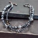 """ヘマタイト&フロストオニキス レイヤーブレス""""HEMATITE&FROSTONYX layer bracelet"""""""