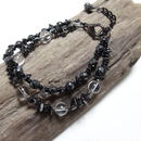 ヘマタイト&水晶 マルテラート 2連ブレス ''HEMATITE & CRYSTALQUARTZ martelato double layer bracelet''