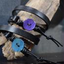 """シェルボタン レザーブレス( アクア)""""shell bottom leather bracelet(AQUA )"""""""