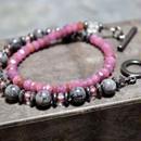 """ルビーAAA &グレーオニキス ラップブレス""""RUBY&GREYONYX wrap bracelet """""""