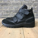 VINTAGE GERMAN SNEAKERS BLACK LEATHER 80s90s  -DEADSTOCK size25.5-