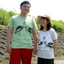 Tシャツ ホオジロカンムリヅル 緑/オートミール