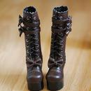 DD  ドルフィードリーム靴 リボン ロングブーツ(ブラウン)