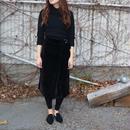 [Bou Jeloud]優しい履き心地!ジャンボコール天ラップ風スカート【ブラック】
