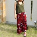 ボタニカル柄プリント やわらか素材オーバースカート【レッド】