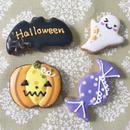【Hー1】ハロウィンミニクッキー★4個入 コウモリ