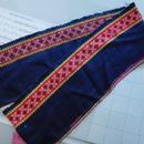 モン族のスカートのボーダー布 no.42  16 x90-100cm 麻布混 Hmong embroidery needlework はぎれ ラオス タイ