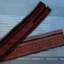 モン族のスカートのボーダー布 no.20  13 x90-100cm 麻布混 Hmong embroidery needlework はぎれ ラオス タイ