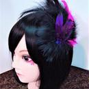 アルマジ製作所 羽根飾り 黒ピンク