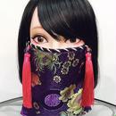 アルマジ製作所 オリジナルマスク 紫チャイナ柄×ピンクタッセル
