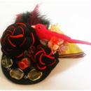 赤猫家/アカネコヤ ねじり梅とトリのコサージュ(赤市松)