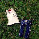 「お洗濯ものシリーズ」タンクトップ&ジーンズ(インディゴ)・ピアス