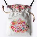 No.54 KSB★2WAY  Shoulder Bag KINCHAKU 【 Around flowers 】 巾着ショルダーバッグ【花かこみ】[内ポケット無しビニールポーチ付]