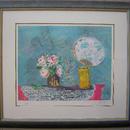 ジル・ゴリチ  リトグラフ  「黄色い花瓶とうちわ」  ED100   自筆サイン