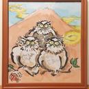 【手描き 色紙フレーム】山とふくろう 24.2cm × 27.2cm