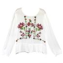 Flower Embroidery Peplum Blouse