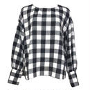 Block-check Back Button Blouse