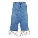 Dot Hem Layered Denim Skirt