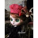 ドールサイズ・ミディサイズ・赤のクラシカルベレー帽