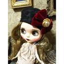 感謝価格・ドールサイズ・お花模様のクラシカルベレー帽