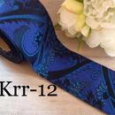 京都 金襴リボン 濃紺に小花