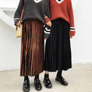 【即納OK!!】ベロアプリーツロングスカート