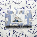 《KNOT&BOW》GIFT WRAP INDIGO CATS