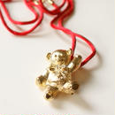 Special price【スペシャル プライス】AVONエイボン テディベア ラインストーン リボンペンダント ネックレス ブローチ 箱BOX付き / ヴィンテージ・アクセサリー