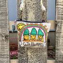 パイナップルレインボー刺繍マチ付きショルダーポーチ