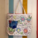スマイルフラワー刺繍トートバッグ